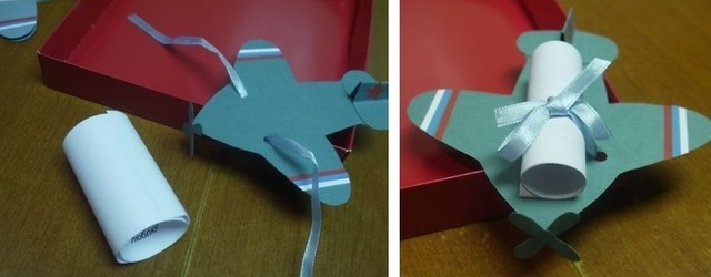 «Самолет с посланием» - одна из самых красивых поделок на основе бумажного шаблона_3