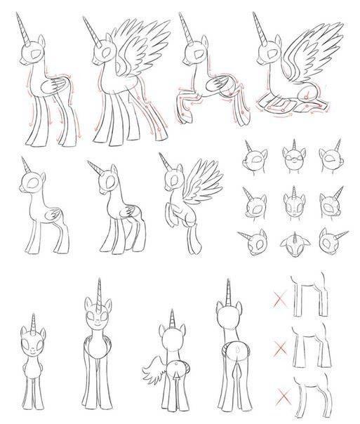 Лёгкие и красивые рисунки пони и единорога карандашом для девочек-3