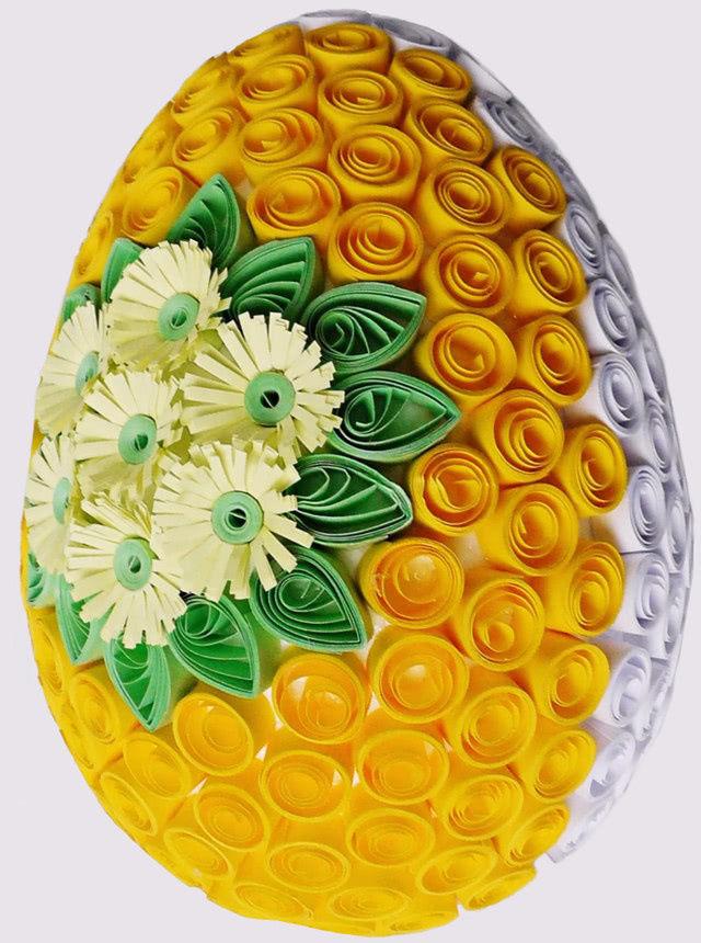 Красивая лёгкая поделка: пасхальное яйцо из бумажных лент в технике квиллинг_5