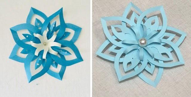 Как легко и просто можно сделать красивую двустороннюю снежинку из бумаги (пошагово)-3