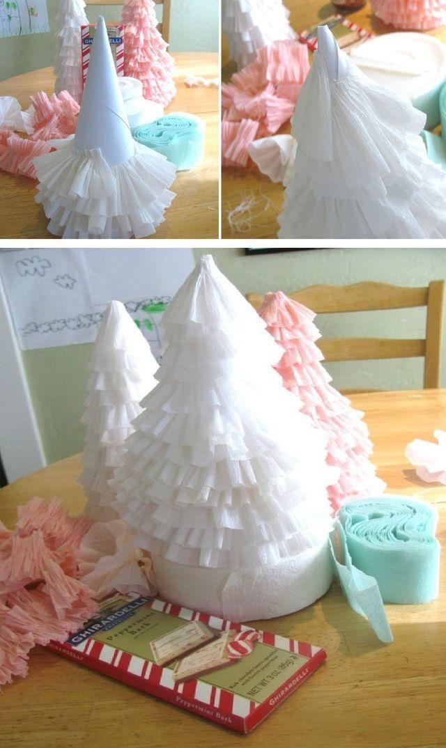 Простоя новогодняя елка из гофрированной бумаги своими руками_4