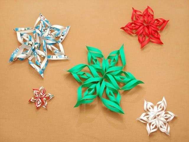 Пошагово вырезаем из бумаги объемную снежинку-1