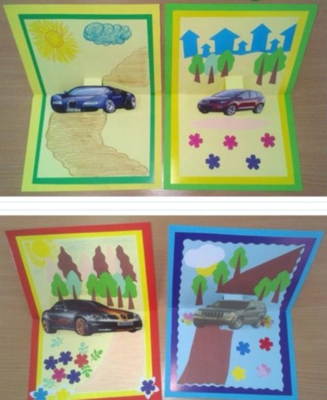 «Открытка с автомобилем»: поделка для первоклашки на День защитника Отечества_3