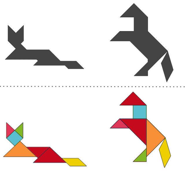 анграм схемы с задачами для дошкольников: лиса и лошадь
