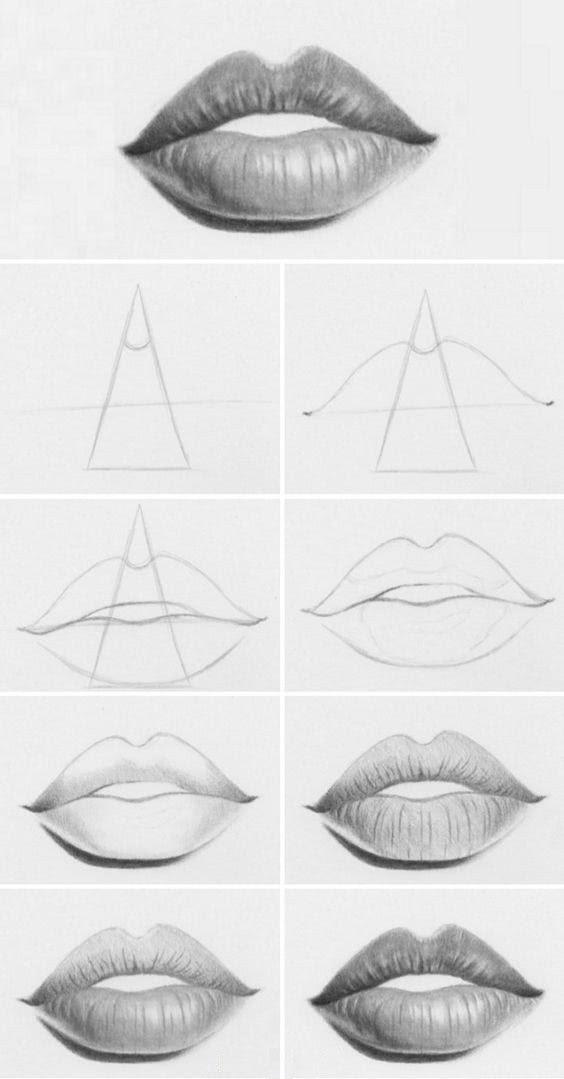 Рисунки губ для срисовки-3