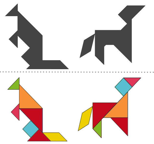 анграм схемы с задачами для дошкольников: кенгуру и собака