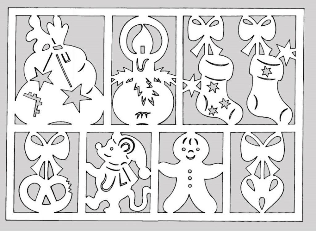 Крупные новогодние вытынанки на окна: распечатать красивые картинки и шаблоны 2020-6