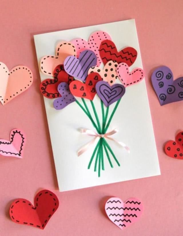 Детская валентинка с букетом сердец_1