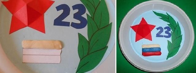 Тематическая аппликация на тарелочке к 23 февраля для старшей группы садика_6