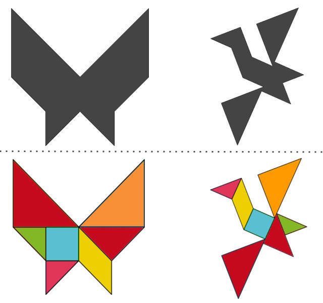 анграм схемы с задачами для дошкольников: бабочка и птица