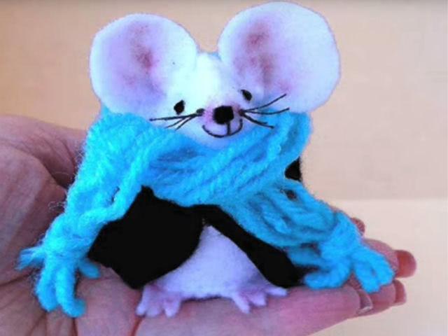 Винтажная мышка из фетра своими руками с ...