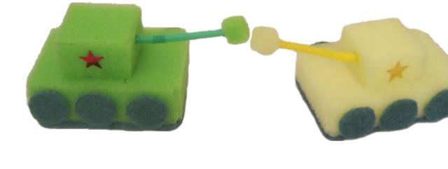 Легкая поделка «Танк» к 23 февраля (из губок для мыться посуды)_1