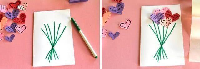 Детская валентинка с букетом сердец_3