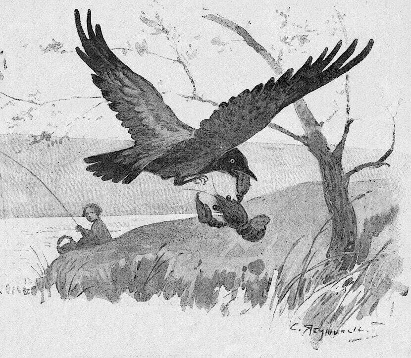 Читать сказку Ушинский — Ворона и рак