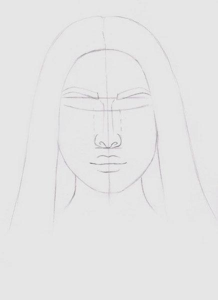 Срисовка портрета карандашом для девочек-5