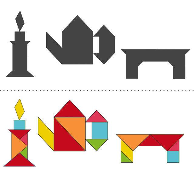 Танграм схемы с задачами для дошкольников: свеча, чайник, стол