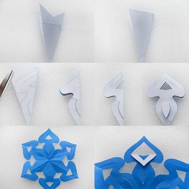 Как вырезать необычную новую снежинку: схема пошагово-3