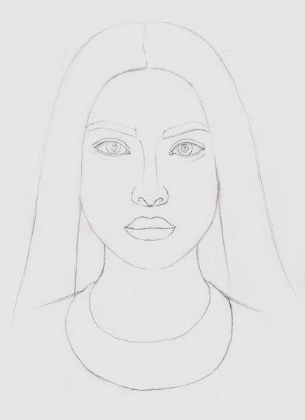 Срисовка портрета карандашом для девочек-6
