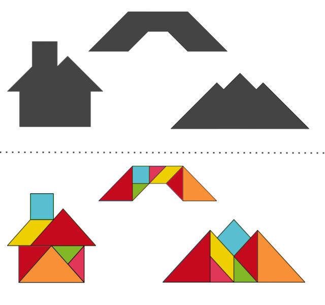 Танграм схемы с задачами для дошкольников: предметы: дом, мост, гора