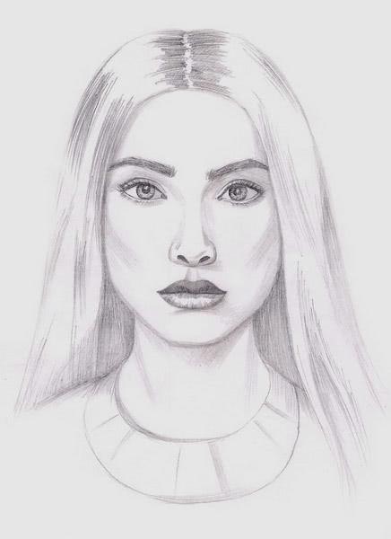 Срисовка портрета карандашом для девочек-7