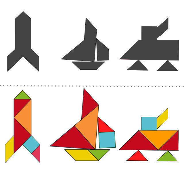 Танграм схемы с задачами для дошкольников: ракета, парусник, танк