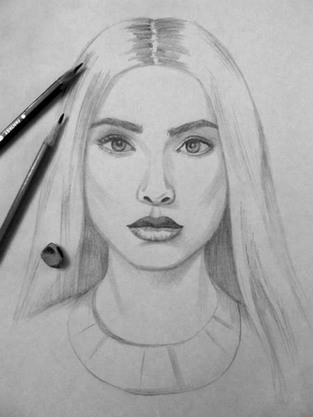 Срисовка портрета карандашом для девочек-8