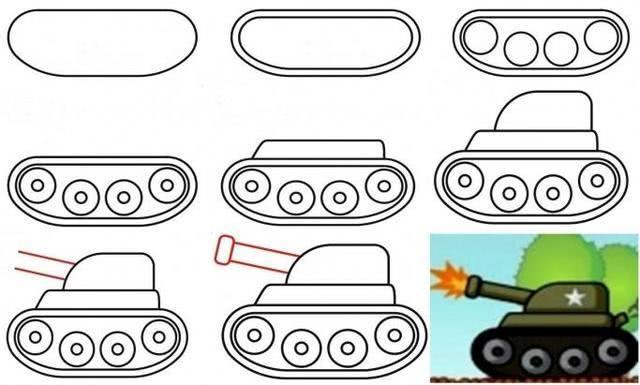 Рисунок «Танк» в качестве поделки или ее части_1