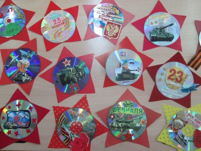 Поделка на основе CD-диска для подарка на 23 февраля_1