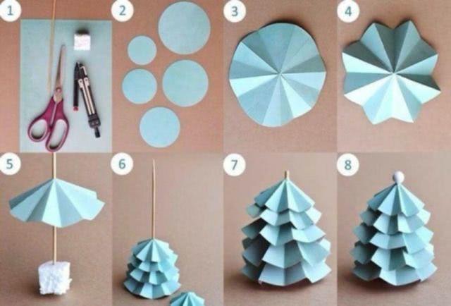 Шаблон новогодней елочки из картона и бумаги своими руками_1