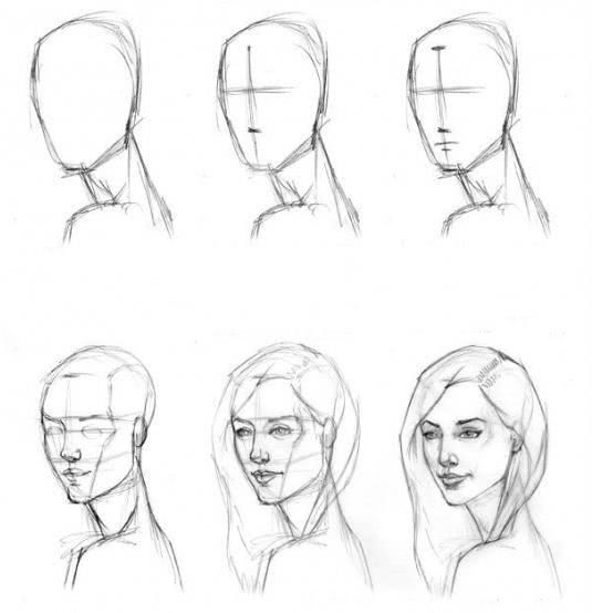 Срисовка портрета карандашом для девочек-10