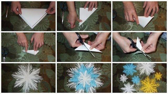 Легкие снежинки из бумаги руками ребенка: мастер-классы для начинающих-3