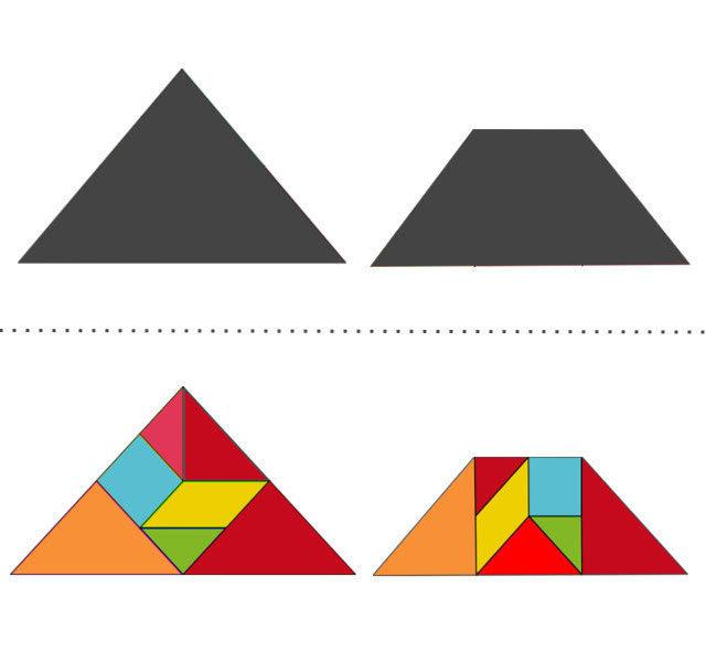 Танграм схемы с задачами для дошкольников:треугольник, трапеция