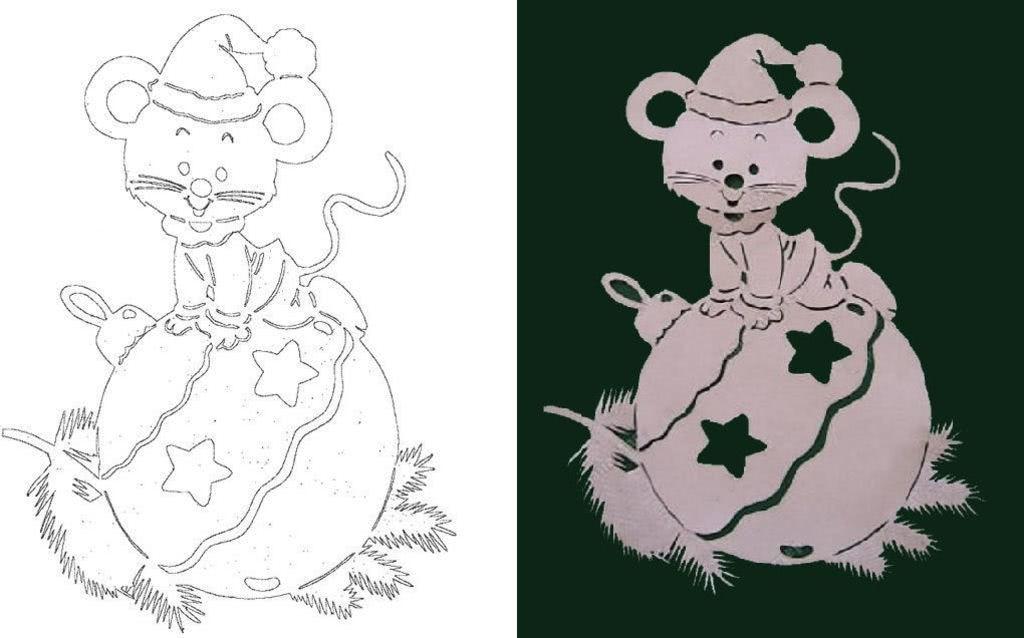 Вытынанки на Новый год 2020: шаблоны крысы и мыши скачать и распечатать-2