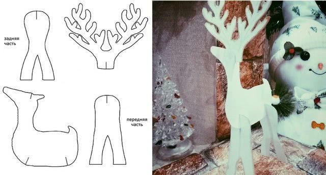 Шаблоны и схема сборки новогоднего оленя из картона_1