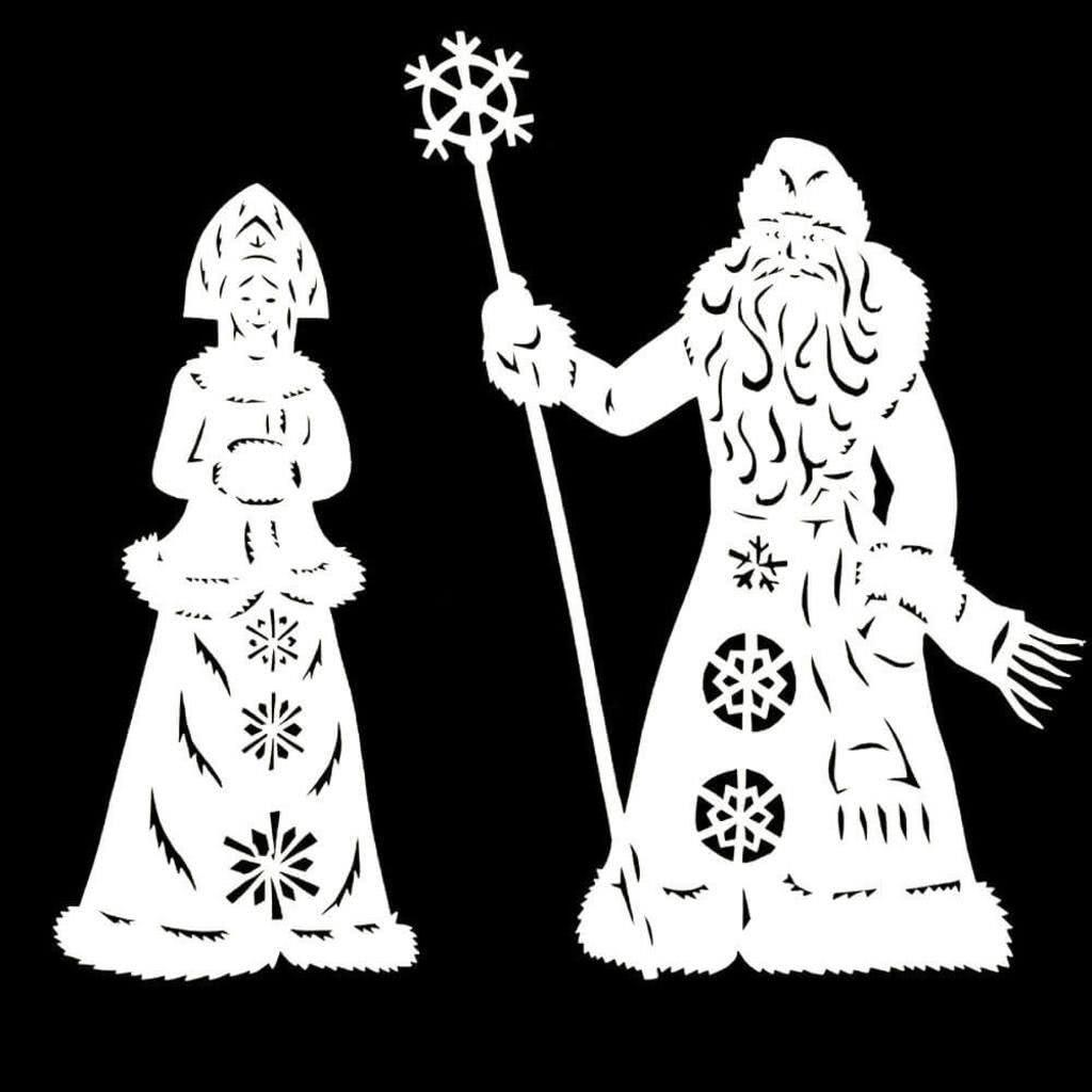 Крупные шаблоны Дед Мороз и Снегурочка для новогодних вытынанок на окна (можно распечатать и вырезать)-2