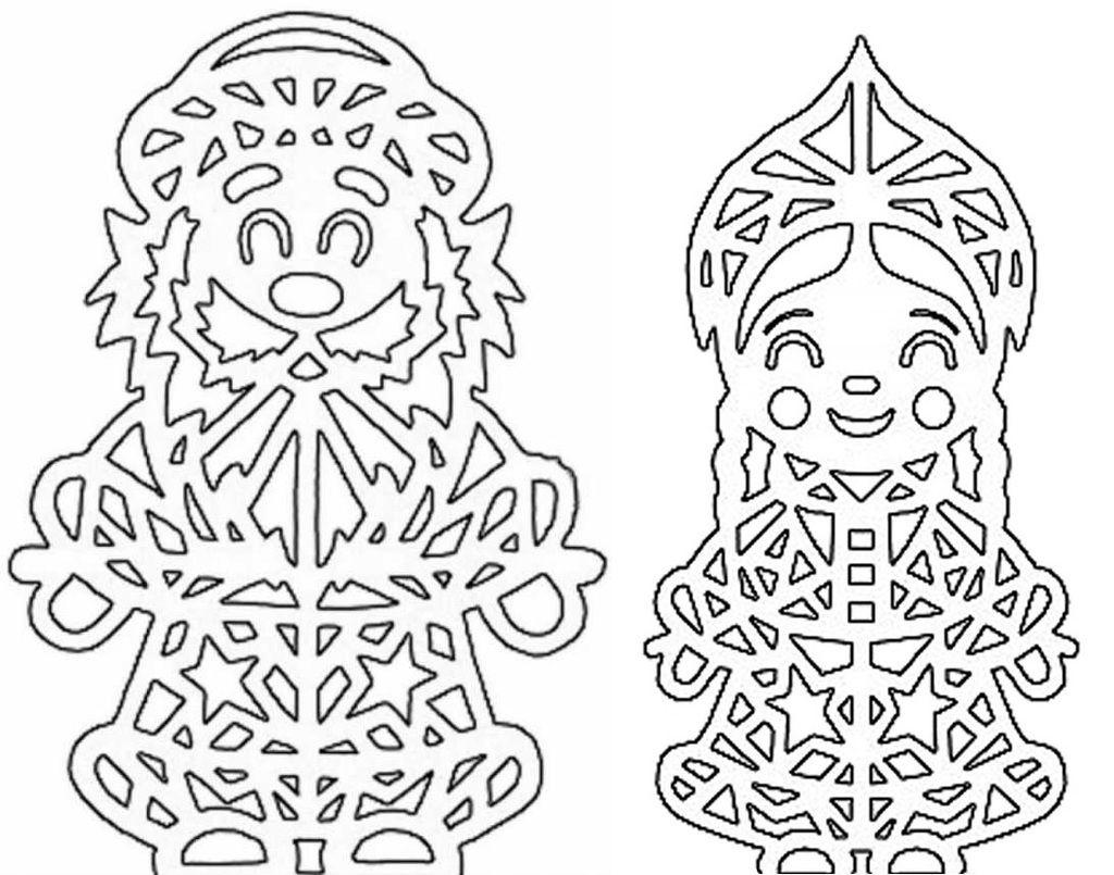 Крупные шаблоны Дед Мороз и Снегурочка для новогодних вытынанок на окна (можно распечатать и вырезать)-3