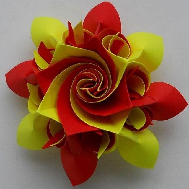Цветок в технике оригами - Такую красоту можно нести на конкурс поделок_6