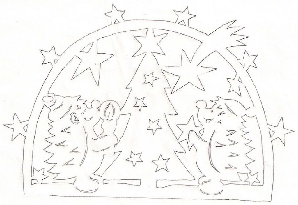 Шаблоны Новогодняя елка для вытынанок (можно распечатать и вырезать)-1