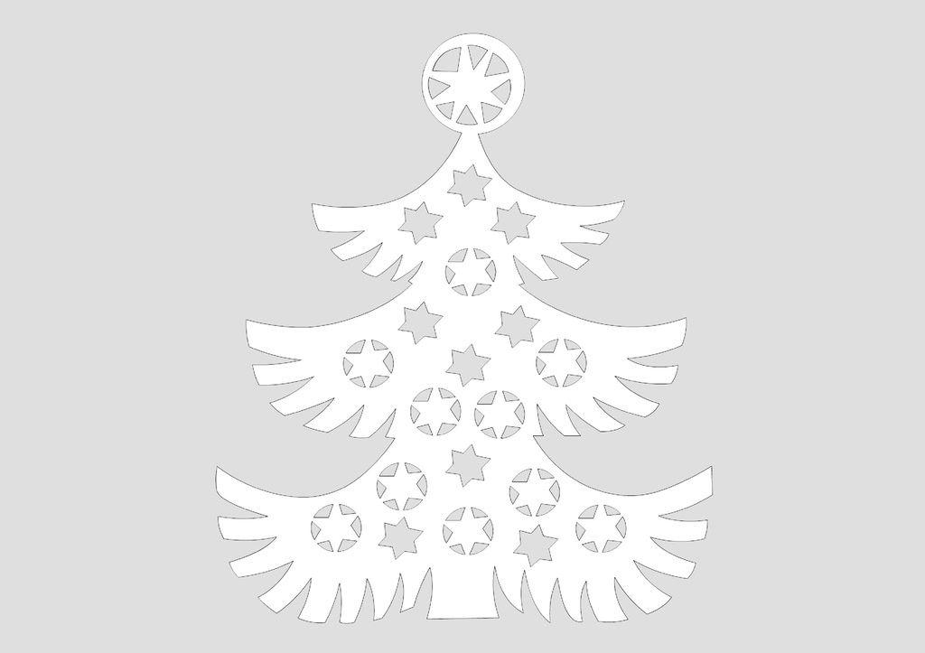 Шаблоны Новогодняя елка для вытынанок (можно распечатать и вырезать)-2