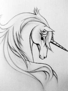 Срисовка карандашом единорога для начинающих-3
