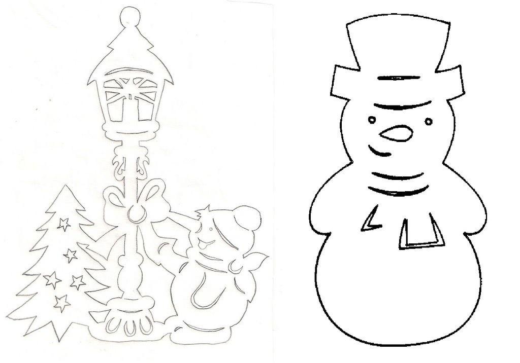 Вытынанки-шаблоны Снеговик и лесные звери (можно распечатать и вырезать)-1