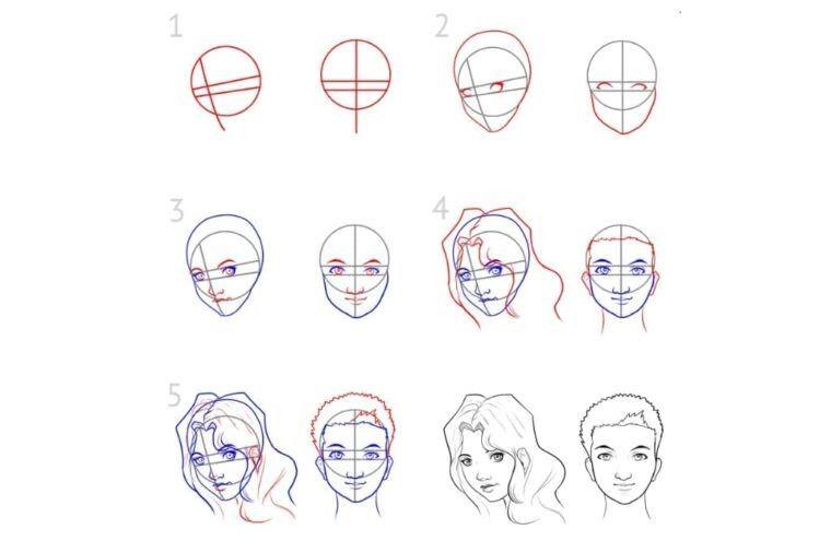 Поэтапное рисование людей карандашом для девочек 10 лет-1