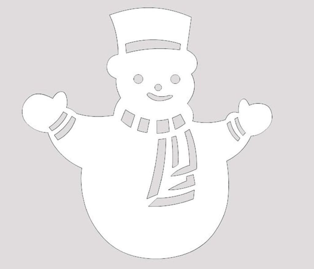 Вытынанки-шаблоны Снеговик и лесные звери (можно распечатать и вырезать)-2