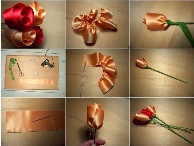 Очаровательные Розы из атласных лент своими руками_1