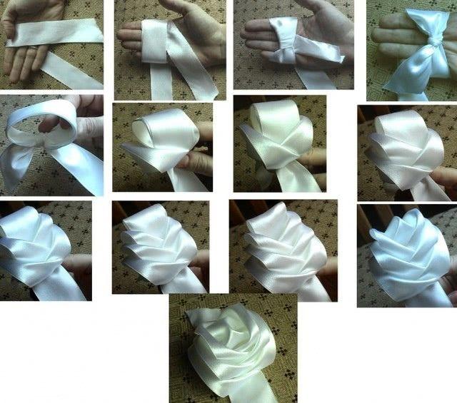 Цветок из широкой атласной ленты для самой красивой поделки к 8 марта_1