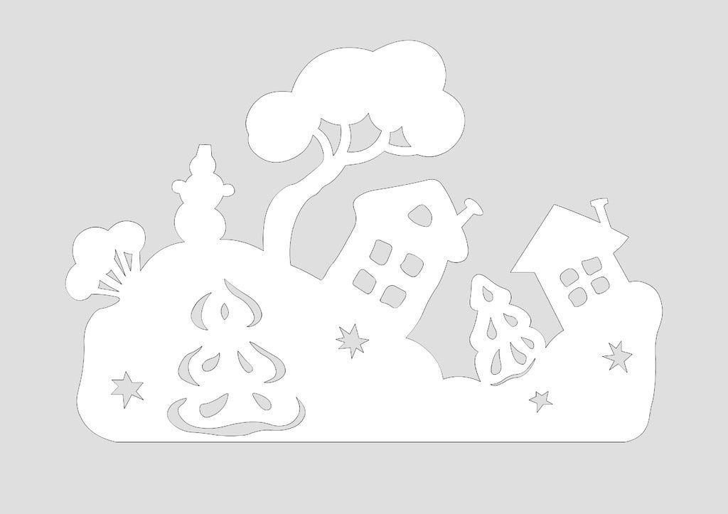 Сказочные новогодние вытынанки: домики, Щелкунчик, Снежная королева (шаблоны для распечатки и вырезания)-5