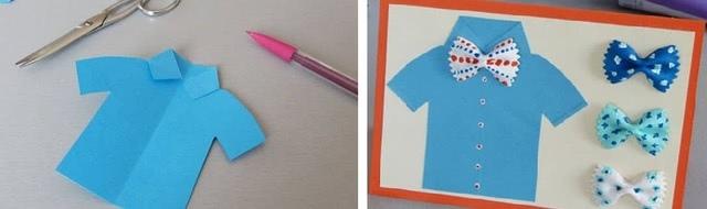 Красивая и простая поделка-открытка из цветной бумаги и макарон фарфалле своими руками_4