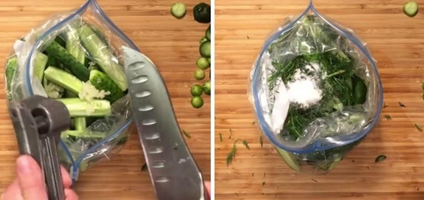 Как приготовить малосольные огурцы с чесноком и укропом в пакете за 15 минут_3