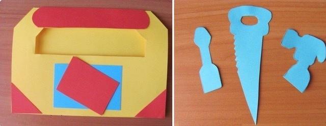 Красивый «Ящик с инструментами»: шаблон красивой бумажной поделки папе_4