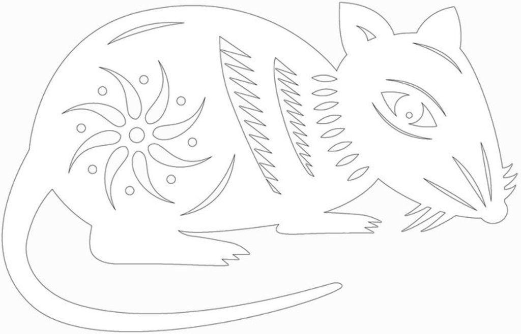 Вытынанки на Новый год 2020: шаблоны крысы и мыши скачать и распечатать-6